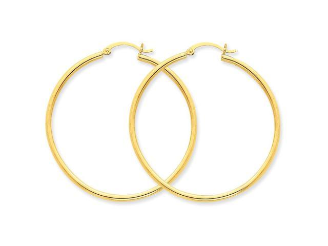 14k Yellow Gold Polished 2mm Round Hoop Earrings (45mm Diameter)