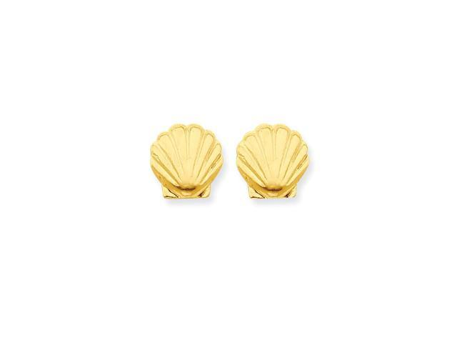 14k Yellow Gold Childs Shell Post Earrings w/ Gift Box. (10MM Long x 10MM Wide)