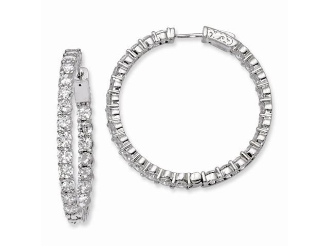 Sterling Silver Rhodium Plated with Synthetic CZ 1.4IN Hinged Hoop Earrings (1.4IN x 1.4IN )