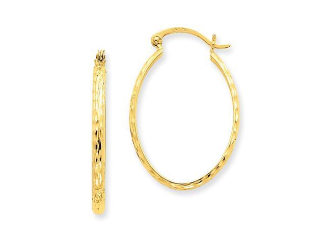14k Yellow Gold LightWt D/C Oval Hoop Earrings. Length 31mm x Width 20mm.