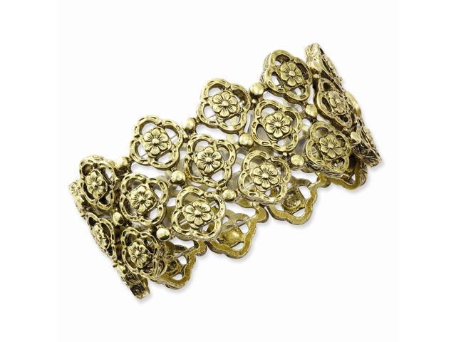 Brass-tone Tailored Stretch Bracelet