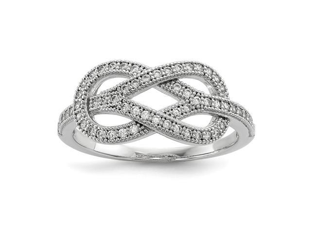 Sterling Silver Rhodium Plated & Synthetic CZ Embers Love Knot Ring