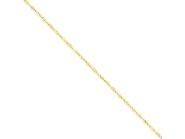 14k Yellow Gold 10in 1.6mm Singapore Anklet Chain