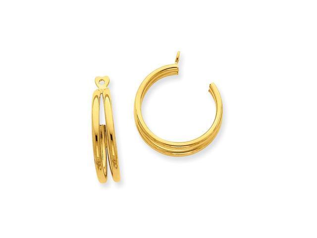 14k Yellow Gold 0.7IN Long Polished Double Hoop Earrings