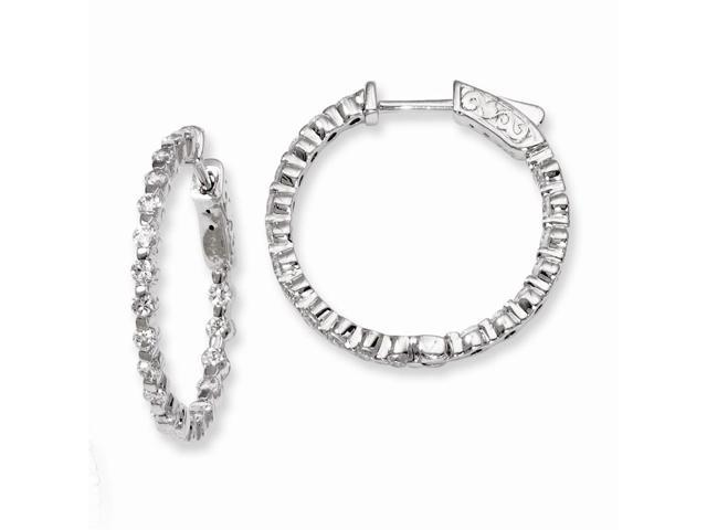 Sterling Silver Rhodium Plated with Synthetic CZ 0.8IN Hinged Hoop Earrings (0.8IN x 0.9IN )