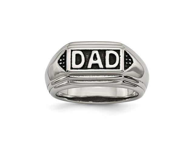 Stainless Steel Black Enamel Dad Ring