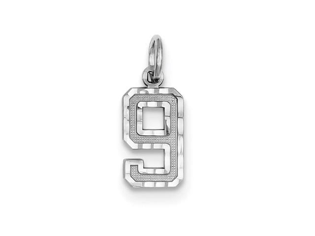 14k White Gold Casted Small D/C Number 9 Charm Pendant
