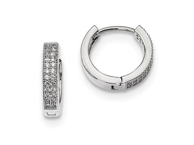 Sterling Silver Rhodium Plated & Synthetic CZ Brilliant Embers Polished 0.2IN Hinged Hoop Earrings (0.3IN x 0.1IN)