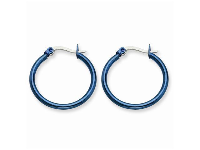 Stainless Steel Blue 26mm Hoop Earrings (0.7IN Long)
