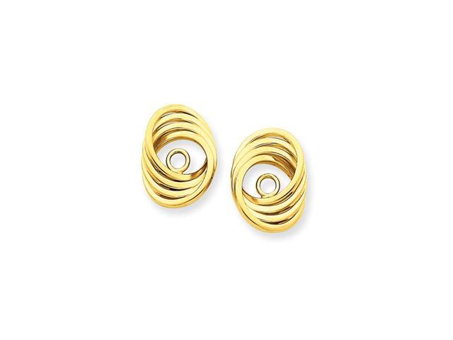14k Yellow Gold Polished Love Knot Earrings Jackets (0.5IN x 0.3IN )