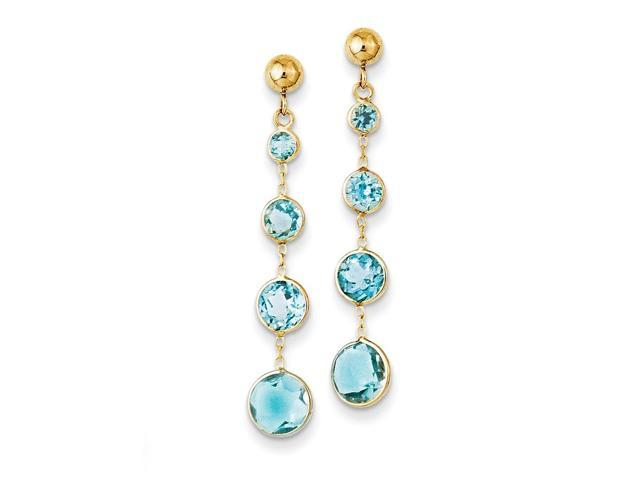 14k Yellow Gold 1.3IN Long Blue Topaz Post Earrings