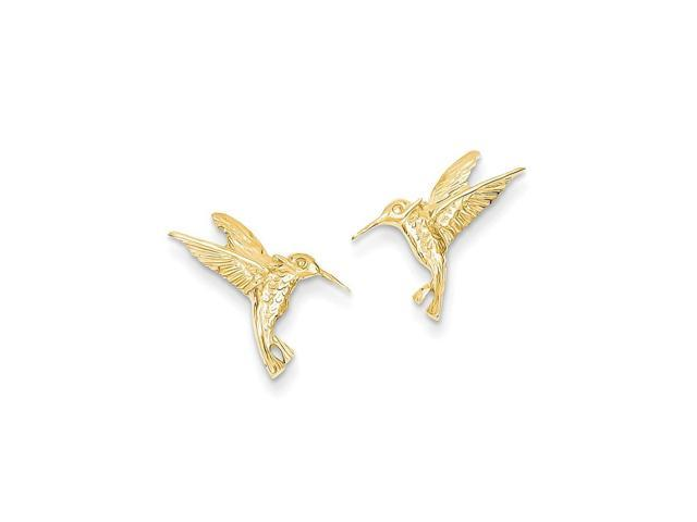 14k Yellow Gold Hummingbird Post Earrings (0.5IN x 0.6IN )