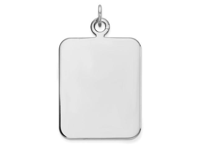 Sterling Silver Engravable Rectangle Disc Charm (1.2IN long x 0.8IN wide)