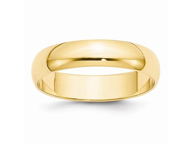 14k Yellow Gold Engravable 5mm LightWt Half-Round Band