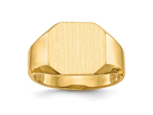 14k Yellow Gold Engravable Signet Ring (11.5mm x 12.2mm face)