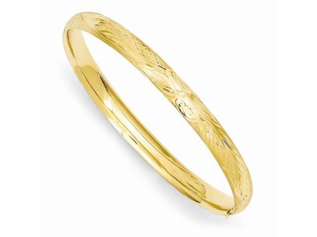 14k 5.5in Yellow Gold Florentine Engraved Baby Bracelet Bangle