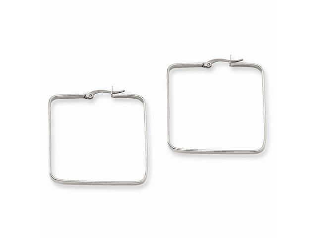 Stainless Steel 38mm Square Hoop Earrings (1.1IN Long)