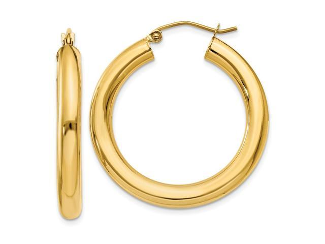 14k Yellow Gold Polished Hollow Tube Hoop Earrings (30mm Diameter)