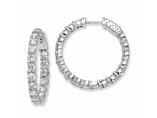 Sterling Silver Rhodium Plated with Synthetic CZ 1.0IN Hinged Hoop Earrings (1IN x 1IN )