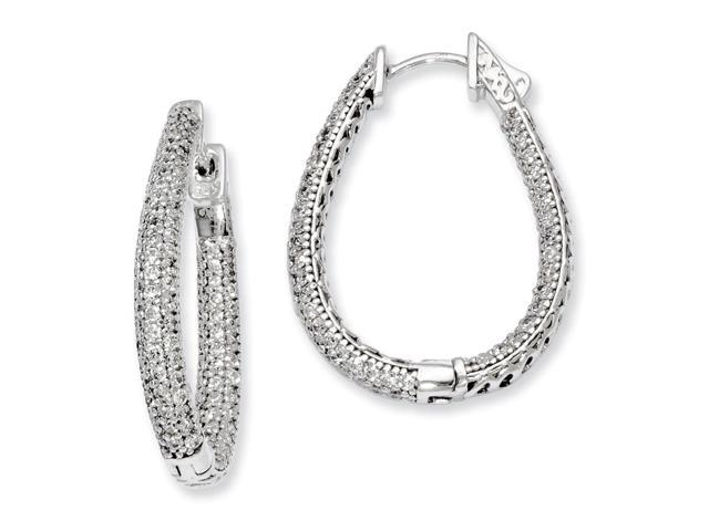 Sterling Silver Rhodium Plated with Synthetic CZ Teardrop Hinged Hoop Earrings (1.1IN x 0.8IN )