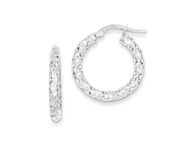 14k White Gold 2.5mm Textured Round Hoop Earrings. 20mm Diameter.