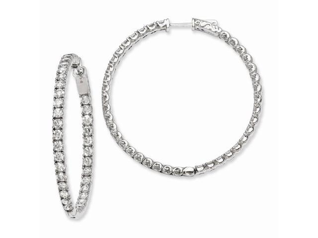 Sterling Silver Rhodium Plated with Synthetic CZ 1.7IN Hinged Hoop Earrings (1.7IN x 1.8IN )
