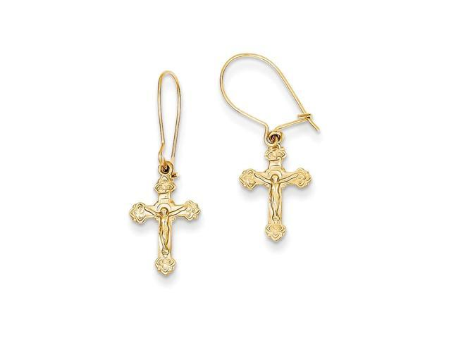 14k Yellow Gold Polished Crucifix Kidney Wire Earrings (1IN x 0.3IN )