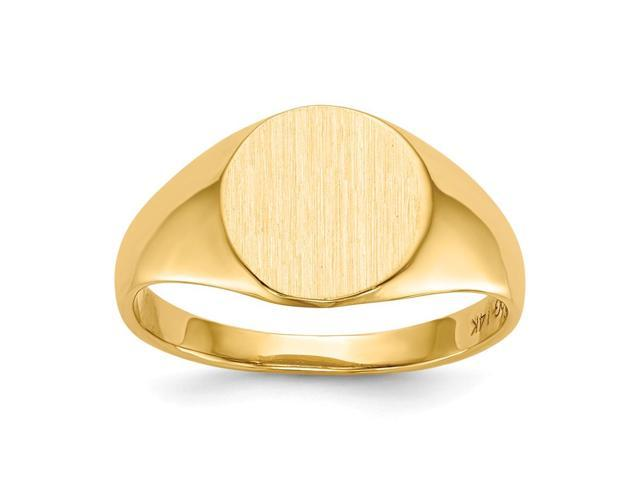 14k Yellow Gold Engravable Signet Ring (9.8mm x 10mm face)
