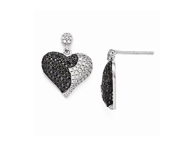 Sterling Silver Rhodium Plated & Synthetic CZ Brilliant Embers Heart Dangle Post Earrings (0.7IN x 0.5IN )