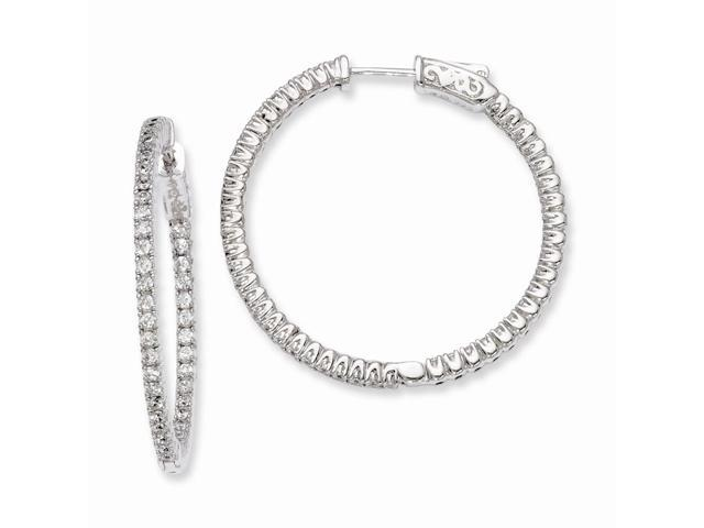 Sterling Silver Rhodium Plated with Synthetic CZ 1.2IN Hinged Hoop Earrings (1.2IN x 1.3IN )