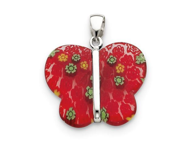 Sterling Silver Red Polished Fancy Butterfly Pendant