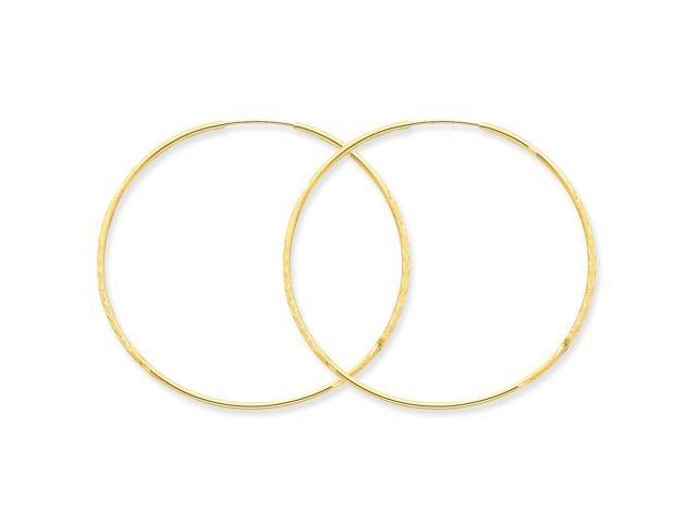 14k Yellow Gold 1.25mm D/C Endless Hoop Earring (48mm Diameter)