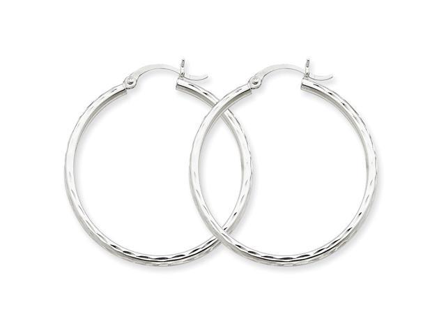 14k White Gold Diamond-cut 2mm Round Tube Hoop Earrings. 35mm Diameter.
