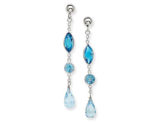 14K White Gold 1.5IN Long Blue Topaz Post Earrings