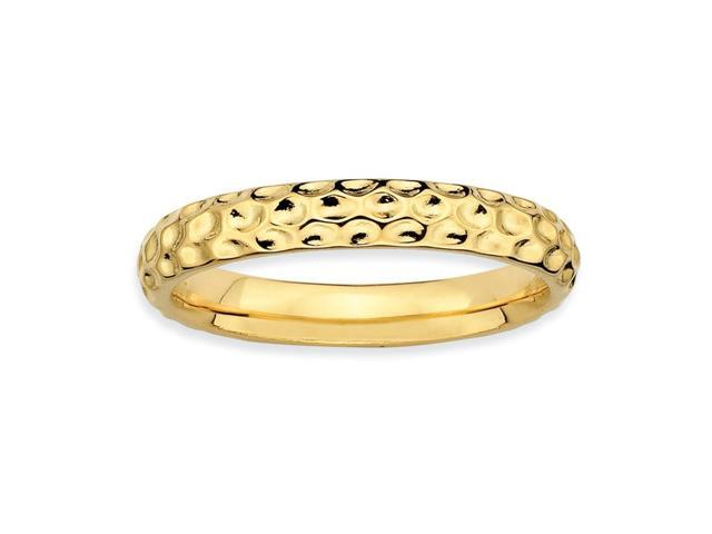 Glitz and Glamour Silver Stackable 18k Gold-Plated Ring