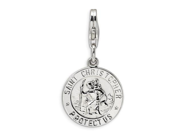 Sterling Silver Rhodium Plated St. Christopher Medal with Lobster Clasp Charm (0.5in)