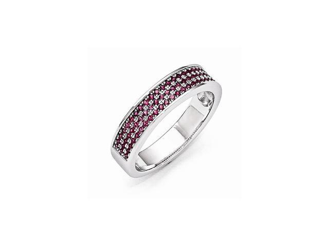 Sterling Silver Rhodium Plated & Synthetic CZ Embers Ring