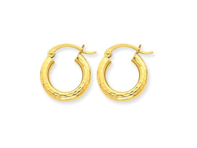 14k Yellow Gold Diamond-cut 3mm Round Hoop Earrings. 15mm Diameter.