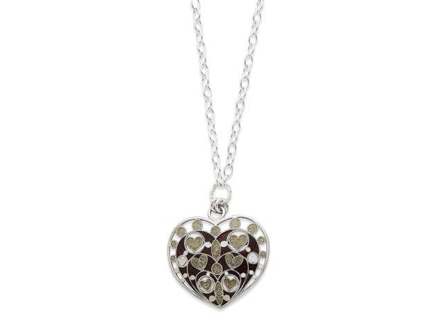 Sterling Silver Enameled & Polished Heart Necklace (18in long)