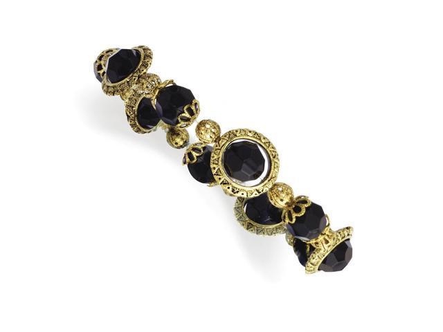 Brass-tone Jet Crystal Stretch Bracelet