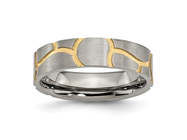 Titanium Satin & Grooved 14k Gold Plated Ladies 6mm Engravable Band