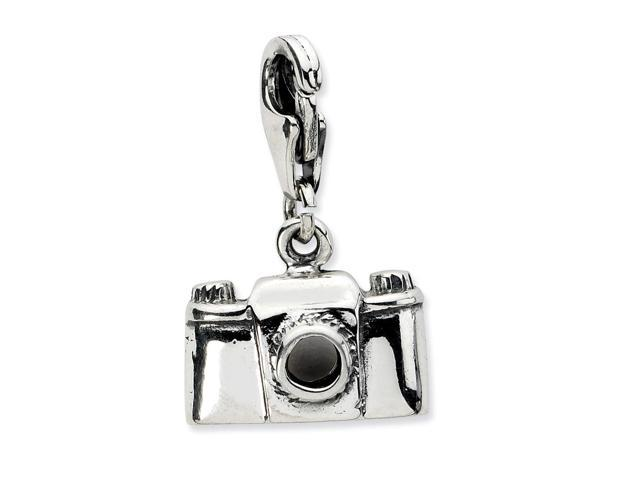 Sterling Silver Antiqued Camera with Lobster Clasp Charm (8mm long x 14mm wide)