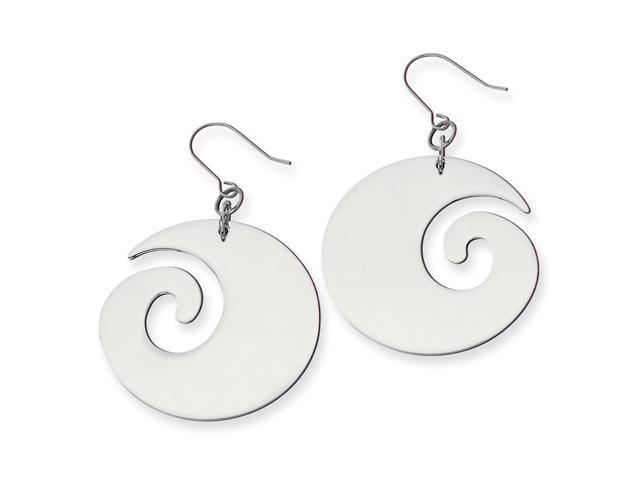 Stainless Steel Swirl Dangle Earrings (2.4IN x 1.7IN )