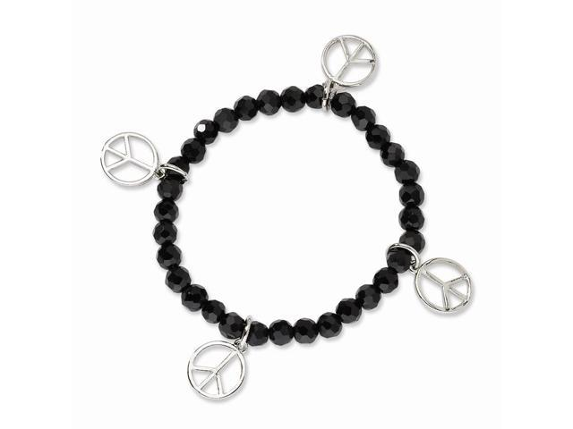 Silvertone Peace Charms on Black Crystal Beaded Stretch Bracelet