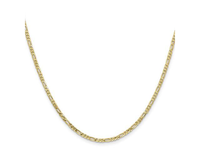 10k Yellow Gold 8in 2.2mm Figaro LINK Chain Bracelet