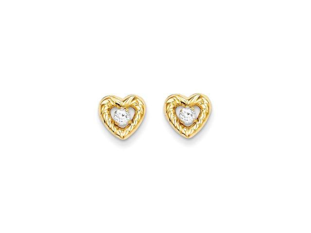 14k Yellow Gold Childs Heart w/ Synthetic CZ Post Earrings w/ Gift Box (10MM Long x 10MM Wide)