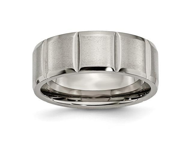 Titanium Notched 8mm Satin Engravable Band