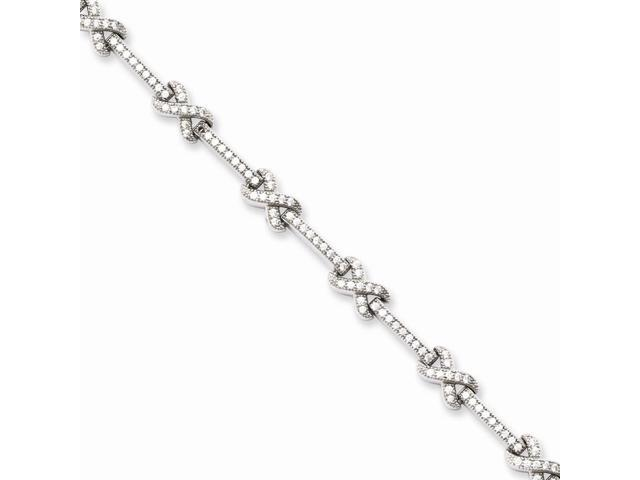 Sterling Silver Rhodium Plated & Synthetic CZ Embers 7in Bracelet