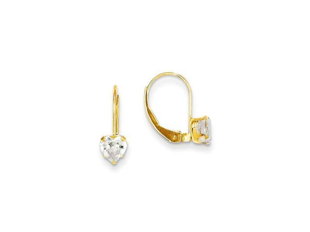 14k Yellow Gold 0.5IN Long Childs Synthetic CZ Heart Leverback Earrings