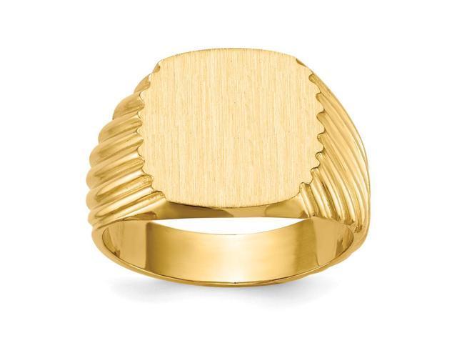 14k Yellow Gold Engravable Men's Signet Ring (13mm x 12.9mm face)
